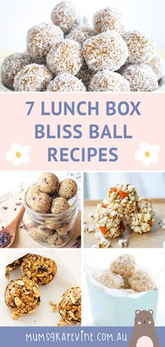 Bliss balls are great for kicking bad sugar to the kerb and making snacking on the good stuff fun. Here are 7 nut-free bliss balls to get their lunches rolling! Healthy Lunchbox Snacks, Vegan Lunch Box, Yummy Snacks, Lunch Box Recipes, Baby Food Recipes, Snack Recipes, Raw Recipes, Cooking Recipes, Low Fat Cookies