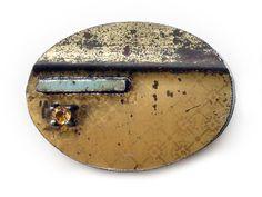 Jo Pond, A bit of blue (Brooch), Repurposed steel tin, steel, citrine