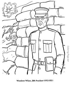woodrow wilson us president coloring pages