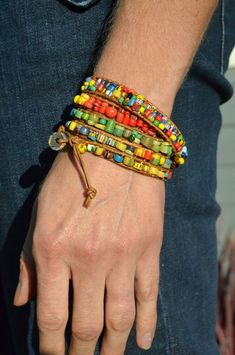 5 Wrap Beaded Wrap Bracelet - Multicolored African Glass