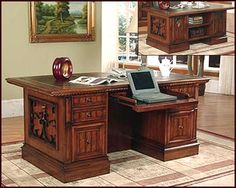 Give your office or home a Spanish-revival feel with the Parker House Barcelona Double-Pedestal Executive Desk. This good-sized desk offers plenty of. Furniture Showroom, Home Furniture, Office Furniture, Craftsman Desks, Home Theater Installation, Home Entertainment Centers, Entertainment Wall, Desk Styling, Parker House