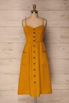 Pembroke Mustard Yellow A-line Midi Dress | La Petite Garçonne