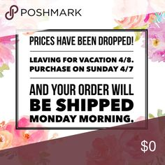 Going on Vacation! Prices have been dropped ☀️🌴 Prices have been dropped significantly. Some are at my lowest but feel free to bundle for more savings. I will be listing a ton on Sunday but have to go on vacation mode while I'm out of town. Make your purchase by Monday 8am so I can ship before I head to the airport. 💕💕 Other