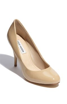 Getting close to finding neutral pump heel (makes legs look uber-long). Don't want patent leather though $65 Steve Madden.