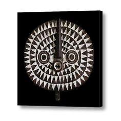 MEDIUM SIZE WALL ART 12x12 Ready to Hang ~ BOBO BWA SUN MASK ~ CANVAS WRAP PRINT #OriginalDesign #EthnographicArt  -- Produced on demand by DigiColorCreations.com