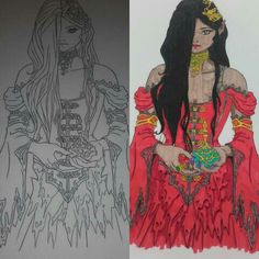 Beautiful enchantress before and after