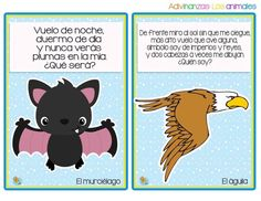 Divertidas adivinanzas de animales - Imagenes Educativas Tongue Twisters, Math For Kids, Exercise For Kids, Riddles, Learning Spanish, Toddler Activities, Back To School, Education, Comics
