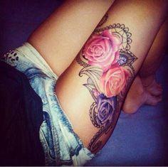 Colored rose thigh tattoo, rose tattoo, thigh tattoo❤️❤️❤️