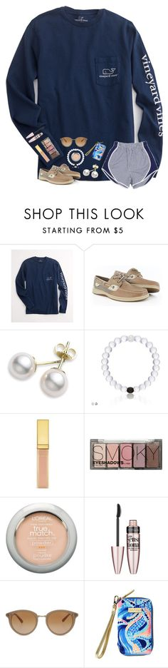 """""""Happy Labor Day """" by mmprep ❤ liked on Polyvore featuring Vineyard Vines, Sperry, Mikimoto, H&M, L'Oréal Paris, Maybelline, Oliver Peoples and Lilly Pulitzer"""