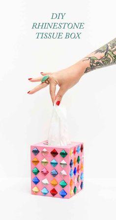 Glue rhinestones to a boring tissue box.