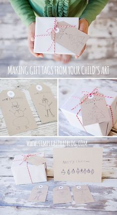 Make simple Christmas gift tags from your children's holiday art work.