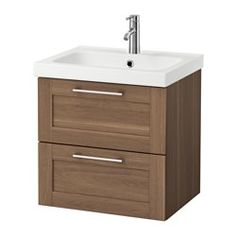 IKEA - GODMORGON / ODENSVIK, Sink cabinet with 2 drawers, high gloss white, , 10-year Limited Warranty. Read about the terms in the Limited Warranty brochure.Smooth-running and soft-closing drawers with pull-out stop.You can easily customize the size of the drawer by moving the divider.You can easily see and reach your things because the drawers pull out fully.Drawers made of solid wood, with bottom in scratch-resistant melamine.The included water trap is easy to connect to the drain, wa...