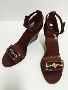 TORY BURCH sandals size 10 navy wedge heels shoes #ToryBurch  #PlatformsWedges