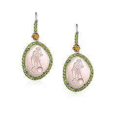 18K Yellow Gold & Sterling Silver Peridot Venetian Glass Cameo Earrings