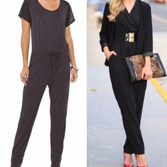 [HP] DARK GREY JUMPSUIT NWOT Great jumpsuit to wear for many occasions. TRANSITION TO FALL. (LEFT SIDE IS ACTUAL JUMPSUIT) Features short sleeves that are sheer/ black. Jumpsuit is more DK Grey. Round neck. Drawstring waist with metal grommets on the ends. Tapered legs. Keyhole fastens in the back with a silver button. 55% Rayon 41% Polyester 4% Spandex. NWOT. ⚫️NO TRADE. NO PAYPAL⚫️HP Pants Jumpsuits & Rompers
