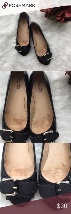Michael Kors Flats Gorgeous black patent leather flats from Michael MK. Peep toe with silver buckle detail. Understated elegance for any outfit. Size 8.5. EUC MICHAEL Michael Kors Shoes Slippers