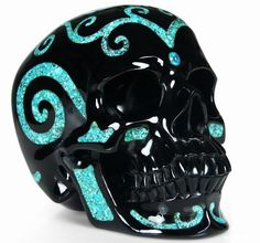 Black Obsidian with Turquoise Inlay Crystal Skull Sculpture skullis.com