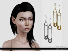 Safety Pin Earrings Found in TSR Category 'Sims 3 Earrings for both Ears' Sims 4 Game Mods, Sims Mods, Sims 4 Cas, Sims Cc, Sims 4 Piercings, The Sims 4 Packs, Korean Accessories, Best Sims, Make Up