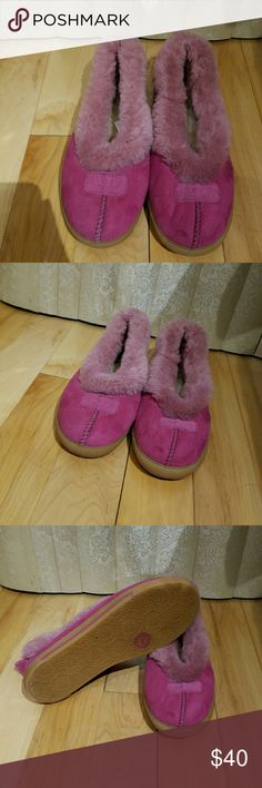 Hot Pink UGG Slippers/Moccasins Like New, hot pink UGG slippers/moccasins/Australian flats. Extremely soft and very comfortable. Size 9 and perfect for indoor or outdoor use. UGG Shoes Moccasins