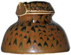 {Unmarked}, Brown w/ Black Mottling; One of a kind? Tremendous mottled glaze that you have to see! Porcelain Insulator, Antique Shelves, Glass Insulators, Vintage Keys, Wood Display, Glass Ceramic, Conductors, Colored Glass, Insulation