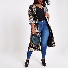 Plus black floral tie waist duster coat