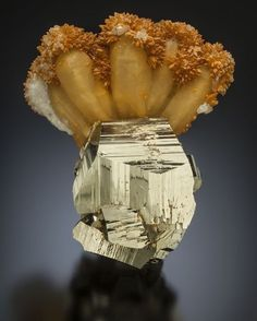 Pyrite quartz and calcite | #Geology #GeologyPage #Mineral Locality: Xataka Mexico Photo Copyright Green Mountain Minerals Geology Page www.geologypage.com