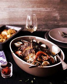 Roasted cod with shellfish