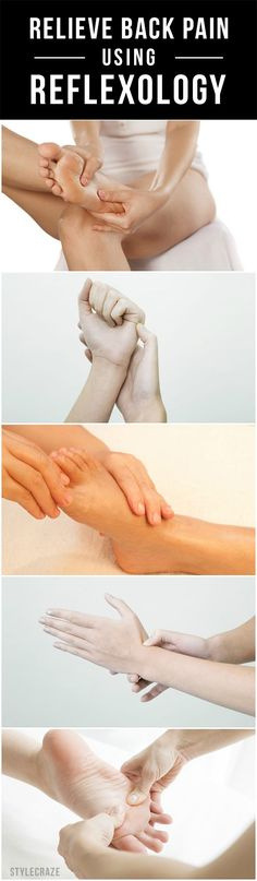 Reflexologia p dor nas costas Suffering from a terrible backache? Did you know that pressing certain targeted nerves on your hands and feet can ease your pain? Massage Tips, Massage Therapy, Massage Benefits, Back Pain Remedies, Reflexology Massage, Relieve Back Pain, Acupressure Points, Reflexology Points, Acupuncture Points