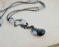 Gemstone Necklace Moonstone Necklace Black Moonstone by PoleStar