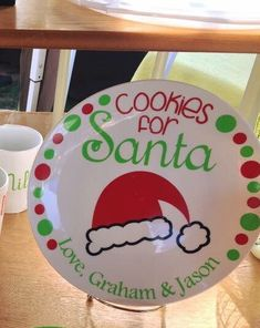 Cookies for Santa Plate & Milk Mug Set by MyDesignsThatShine Fall Craft Fairs, Christmas Craft Fair, Christmas Vinyl, Christmas Decorations For The Home, Christmas Plates, Christmas Signs, Christmas Projects, Holiday Crafts, Christmas Holidays