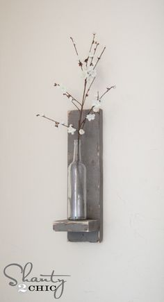 Wine Bottle Wall Decor wine bottle wall vase | wood screws, picture hangers and wood stain