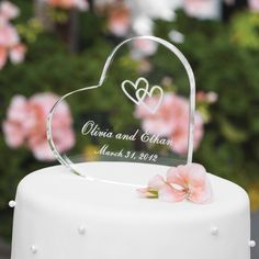 Personalized Acrylic Heart Cake Topper | Wedding Cake Topper $24.95 I like this one too! It's the one I bought for Steph & Chad's wedding