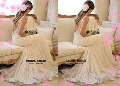 Sexy romantic bateau neckline deep low back mermaid lace wedding gown, lace wedding gown, lace wedding dress