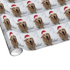 Golden Retriever Believe Christmas Gift Wrap Paper by #AugieDoggyStore. SOLD to a customer in Fort Worth, Texas.