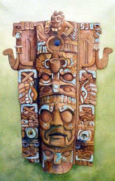 Incensario Maya Mayan Mask, Maya Civilization, Aztec Warrior, Inka, Mexico Art, Aztec Art, Mesoamerican, Indigenous Art, Art And Architecture