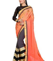 Buy Orange and Gray embroidered georgette saree with blouse bandhani-sarees-bandhej online