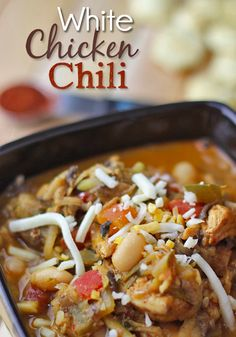 This is a fantastic, homemade White Chicken Chili recipe. Its a delicious clean eating recipe that is sure to impress! Enjoy this White Chili Chicken recipe. Use fat free chicken broth for E meal