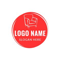 Red Circle and White Sofa logo design