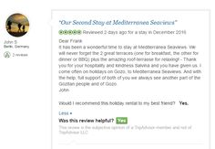 Special thanks to John from Berlin for their second consecutive stay at Mediterranea Seaviews Gozo Holiday Home and the review below.