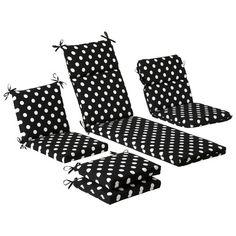 Outdoor Cushion & Pillow Collection - Black/White Polka Dot | More stripes, polka dots and pom poms here: http://mylusciouslife.com/colour-textiles-stripes-polka-dots-pom-poms/