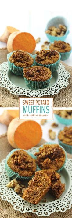 Sweeten up your muffins naturally with these Sweet Potato Muffins topped with a deliciously nutty walnut crumble. No one will guess they are gluten-free and vegan!