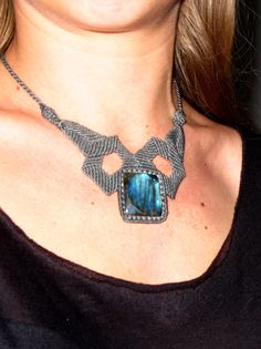 Labradorite necklace macrame. CHF150.00, via Etsy.