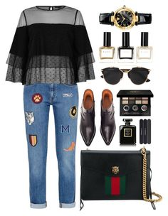 """""""Lace+Jeans"""" by ardhanrania on Polyvore featuring STELLA McCARTNEY, Vetements, Gucci, River Island, Christian Dior, Bobbi Brown Cosmetics, Chanel, MAC Cosmetics, Versace and Balmain"""