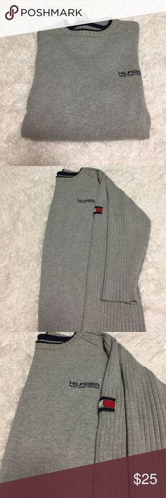 Tommy Hilfiger Men Sweater XL Thick and Heavy Sweatshirt for men by Tommy Hilfiger Denim. Premium Vintage Denim size : XL Color: Gray Tommy Hilfiger Sweaters Crewneck