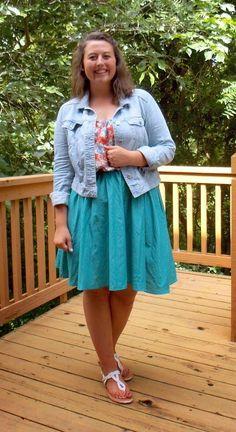 Undergraduate Style Summer 20x30 Remix {floral tank + teal skirt + denim jacket}