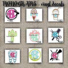 MONOGRAM vinyl decals | name | initial | decal | sticker | car decals | car stickers | laptop sticker - 190-198