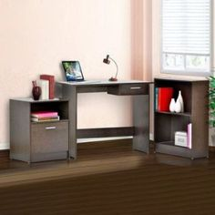 4D Concepts- Office in a box (file cabinet with file folder drawer and cabinet/ desk with drawer/ bookcase with 2 shelves)) in Espresso made of composite board