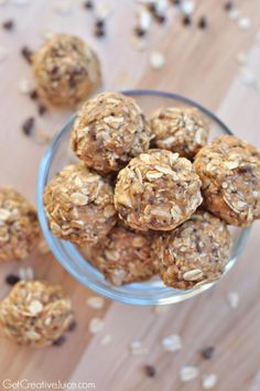 Peanut Butter Oatmeal Energy Bites Ingredients 1 cup oatmeal ⅔ cup toasted shredded coconut ½ cup peanut butter ½ cup mini chocolate chips ⅓ cup honey 1 Tbsp. chia seeds 1 tsp vanilla Instructions Combine all ingredients in a large bowl. Roll and compress the mixture into 1 inch rounds and place on parchment paper Refrigerate a few minutes until firm and then transfer to an air tight container. Refrigerate and enjoy for up to one week.