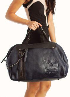 skull embossed handbag