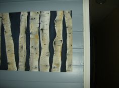 """Dark Blue Birch Trees....Fabric painting! 30"""" x 22"""" Hand painted and signed fabric art. The fabric is sewn around the edges, with a 2"""" pocket sewn at the top, to display, using a decorative curtain rod or strong double-sided tape......Etsy.com hetrickduffydesigns"""